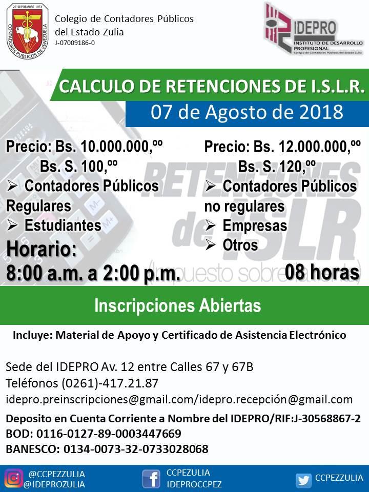 CALCULO DE RETENCION ISLR